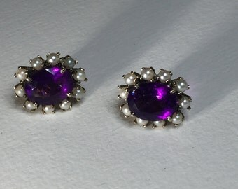 On Hold - A Pair of Amethyst and Pearl Earrings