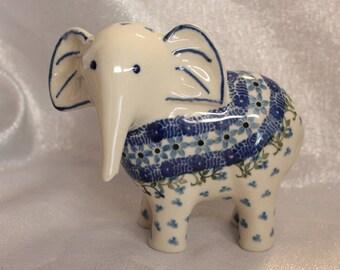 Blue Flower Porcelain Elephant Flowers Leaves Lucky Elephant