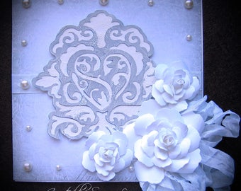 Vintage Shabby Chic style Wedding, Engagement, Anniversary Floral card with a Keepsake Box, White, Lavander, Damask Heart