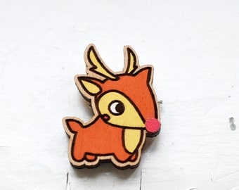 oh my deer ~ Wooden brooch is covered with ECO paint ~ Laser Cut ~ Best Trends ~ Fresh Gifts ~