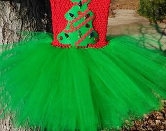 Christmas Tree Inspired Tutu Dress MADE TO ORDER