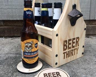 BEER THIRTY Beer Bottle Holder - Wooden Bottle Holder - Beer Tote - Beer Holder - Tailgate Tote - Wedding Party Beer Gift - Beer Lovers Tote