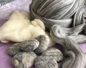 50g • Stone colored Mixed Gray Soft Merino Wool Roving (Ship from SC)