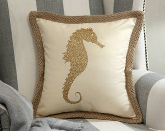 Seahorse Decorative Pillow Cover, Beach House Pillow Cover, Beach Theme Pillow Cover,