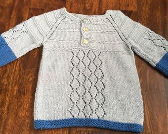 Hand knit custom baby sweater