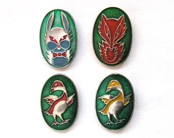 Animals, Birds, Children's badges, Pick from set, Fox, Hare, Duck, Fauna, Vintage collectible badge, Soviet Vintage Pin, Soviet Union, USSR