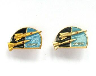 Soyuz -10 Salyut, Set of 2 Soviet Space Badges, Vintage metal collectible badge, Spacecraft, Soviet Pin, Vintage Badge, Made in USSR, 1980s