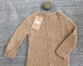 Alpaca Sweater, Cardigan, Baby Cardigan, Hand knitted Cardigan, 3 years