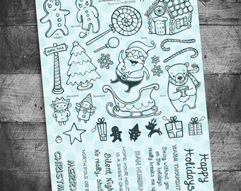 christmas stamps, santa stamps, santa, santa cards,  stamps for christmas cards, december daily, christmas project life, scrapbooking
