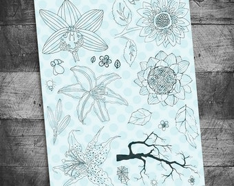 flower stamps, lily stamps, sunflower stamps, bible journaling stamps, tree branch stamps, journal stamps, stargazer lily stamps,