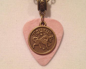 Zodiac Sign Guitar Pick Necklace Taurus