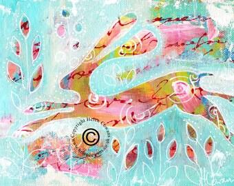 Bounding Hare #172 Original Painting