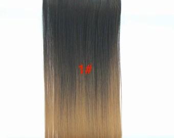 Full Head Dip dye Clip in Hair extensions Ombre Black to dark blonde