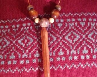Hand Carved Cedar Necklace Pendant