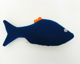 Fish stuffy, toy fish, perch, aquatic toy, wool toy, wool felt toy, felt fish, fish themed toy,