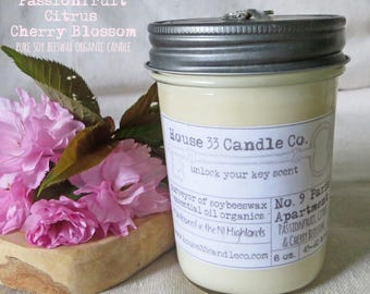 soy beeswax candle, No. 9 Paris Apartment - Passionfruit, Citrus + Cherry Blossom soy beeswax candle with essential oils, allnatural organic