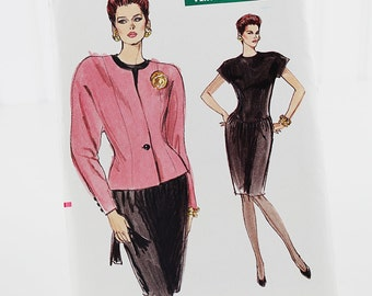 Easy Very Vogue Jacket and Dress Pattern, Uncut Sewing Pattern, Vogue 7385, Size 12-16