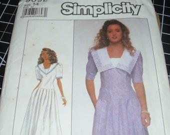 Simplicity 9092 / Size 14 / Dress Pattern / Sailor Neckline / Dropped Waist / Two Lengths / Uncut Pattern