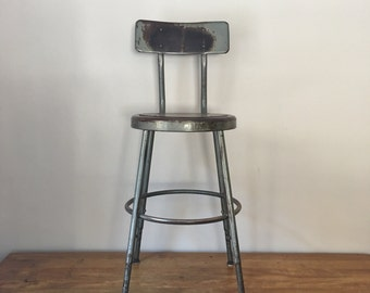 Vintage industrial steel stool in grey - nice worn patina