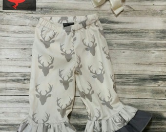Girl's Deer Double Ruffle Bottoms
