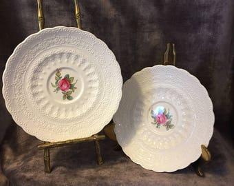 Set of 2 Spodes Billingsley Rose saucers pink roses