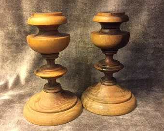 Vintage turned wood wooden candlesticks Set of 2
