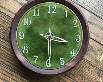 Walnut Ceramic Wall Clock Mid-Century Modern Craft American 50s 60s