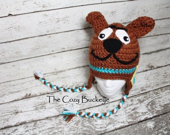 Scooby Doo Hat Crochet Hat Character Hat Halloween Costume Sizes Newborn to Adult