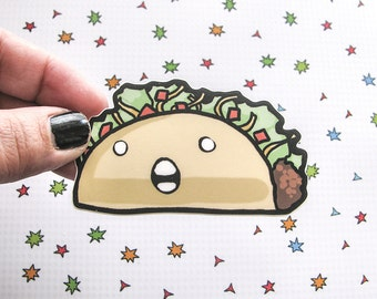 Crazy Taco Sticker, Laptop Sticker, Guitar Sticker, Bumper Sticker, Vinyl Sticker, Cute Food, Funny Food, Taco Sticker, Funny Taco, Kawaii