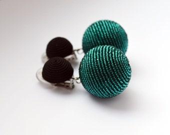 Beads earrings. Two ball earrings. Handmade.