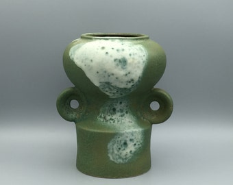 Otto  Keramik / Ceramic big mat green with glossy white, Mid Century  Vase  1960s / 1970s  WGP West Germany