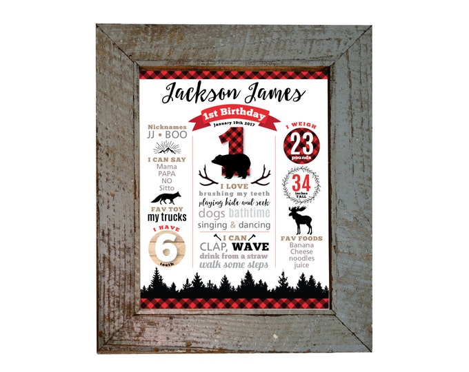 Milestone Wall Art, Lumberjack 1ST BIRTHDAY Print - Personalized 1st Birthday Sign, Lumberjack Milestone Sign, Printable, Buffalo Plaid