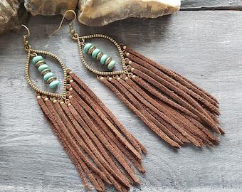 Leather Fringe Earrings Brown Leather Earrings Bronze Bohemian Earrings Boho Tassel Earrings Long Leather Earrings Turquoise Bronze Earrings
