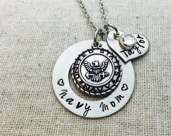 Navy Mom Custom Hand Stamped Necklace-Military Mom-US Navy Mom Gift-Proud Navy Mom-Gift For Mom-Hero-Proud Navy Mom-Military Mom-Deployment
