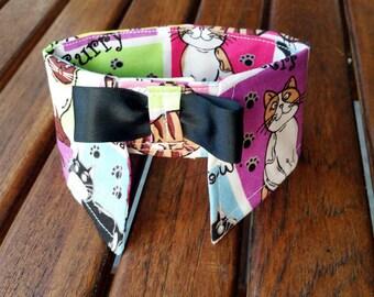 Boy Cat Collar with Cat Prints, Cat Print Fabric Shirt Collar, Neck Accessories for Cats, Pet Neck Collar, Cat Shirt Collar, Cat Neckwear
