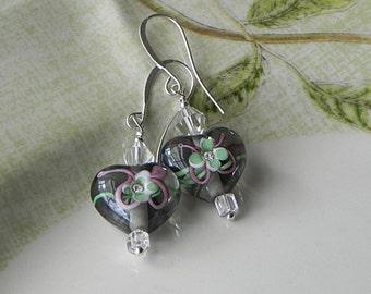 Heart Earrings Green Flower Earrings Grey Heart Earrings Glass Bead Earrings Bright Color Earrings Grey Heart Floral Heart Romantic Earrings