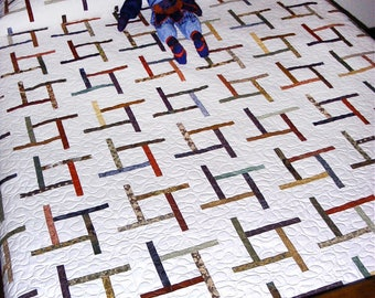 Easy PDF Quilt Pattern, Tumbling Tiles, Beginner Quilt Pattern, Instant Download Digital Quilt Pattern