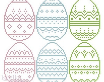 6 Decorated Easter Eggs cross stitch pattern instant download Easter cross stitch chart