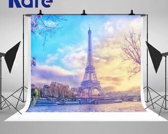 Sunset Paris Eiffel Tower City Photography Backdrops Romantic Travel Photo Backgrounds for Wedding Studio Props
