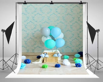 Blue Flowers Colorful Balloons Wallpaper Photograpy Backdrops Newbron Baby 1st Birthday Photo Backgrounds for Boys Studio Props J03431
