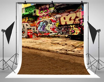 Kate Photography Backgrounds Foreign Painting Graffiti Wall Street Chaos Photography Backdrops Photo LK-1324