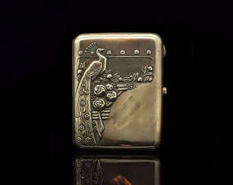 Antique original perfect silver russian bird decorated cigarette case