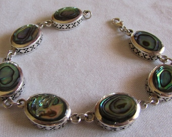 Sterling Silver and Colorful Abalone Shell Link Bracelet