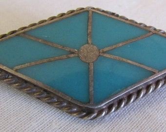 Vintage Diamond Shape Sterling Silver Turquoise Inlay Pin