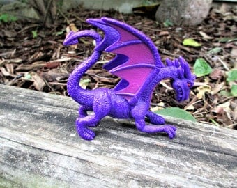 Purple Fairy Garden Dragon, Purple Dragon Figurine, Fairy Garden Dragon Figurine, Fairy Garden Supplies, Dragon Cake Topper