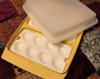 Vintage Tupperware Harvest Gold Deviled Egg Tray/Plate/Carrier/Container/Keeper/Server/Platter Unbreakable Plastic Retro 1970s Serving Dish