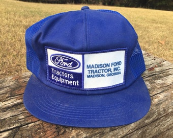 Ford Tractors Equipment Trucker Hat - Vintage Farming Hat - Madison Ford Tractor, Inc. - Georgia Hat - Ford Blue Snapback - Ford Trucks