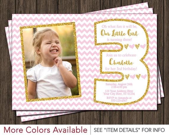 Pink and Gold Third Birthday Invitation Light Pink and Gold 3rd – 3rd Birthday Invitation Cards