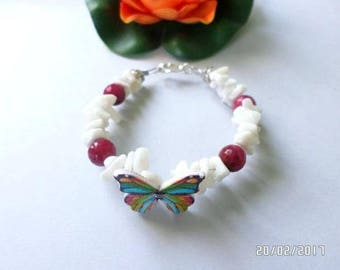 trendy bracelet White Pearl and Ruby root with butterfly