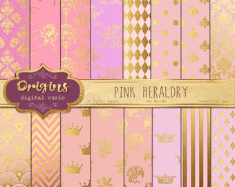 Pink Heraldry digital paper, Heraldic Pink and Gold Foil, Crowns,  Unicorns, Gold Damask Heraldic Crests Backgrounds, Instant Download